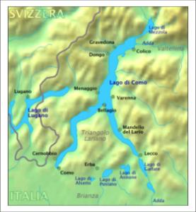 Озеро Комо. Карта фото