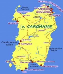 Карта Сардинии фото